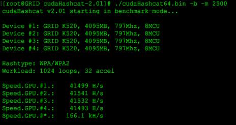Hashcat Benchmark with g2.8xlarge