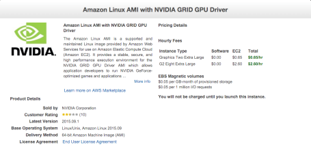 Amazon Linux AMI with NVIDIA GRID GPU
